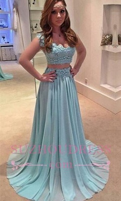 Lace Chiffon Sweep Train Evening Gowns Newest Two Piece A-line Prom Dress_3
