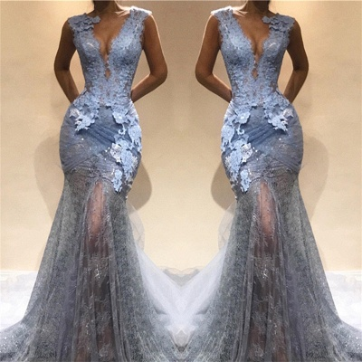 Lace Appliques Sheer Mermaid Lace Prom Dress  | Sleeveless Sexy Long Evening Dress_3