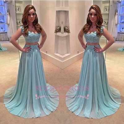 Lace Chiffon Sweep Train Evening Gowns Newest Two Piece A-line Prom Dress_1