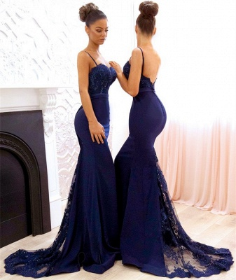 Spaghetti Straps Backless Sexy Bridesmaid Dresses   Mermaid Lace Evening Gown BA7878_3