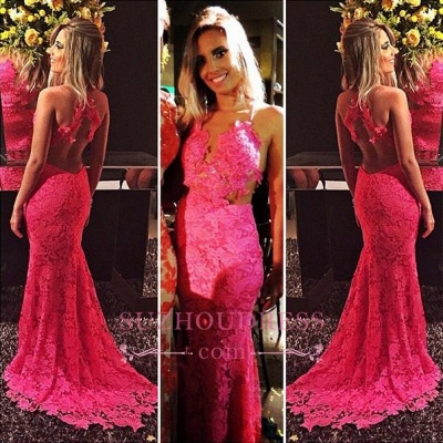 Sexy Sleeveless Open-Back Lace Mermaid Red Prom Dresses_1