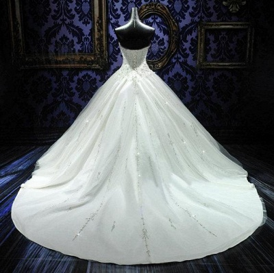 Sweetheart Beading Lace-Up Princess Dress Gorgeous Ball Gown  Wedding Gown_7
