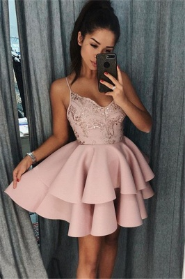 Pink Spaghetti Straps Short Homecoming Dresses | Tiered Appliques  Hoco Dresses_1