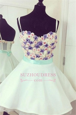 Mini Lovely Flowers Spaghetti Straps Colorful  Homecoming Dresses_1