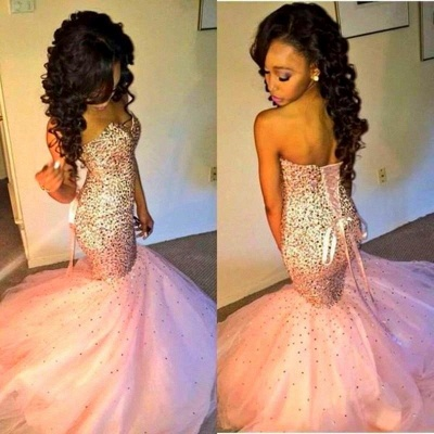 Sweetherat Crystal Mermaid Lace-Up Evening Gown with Beadings Latstst  Pink Prom Dress_3