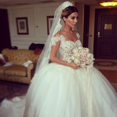 Elegant Lace Princess Ball Gown Wedding Dresses Sheer Mesh Neck Buttons Popular Bridal Dresses_2