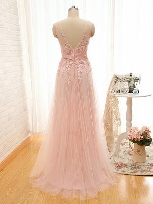 Cute Pink Tulle Long Prom Dress Formal Bowknot V-Neck Floor Length Formal Occasion Dresses_3