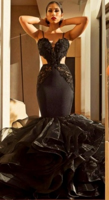 Spaghetti Straps Mermaid Black Prom Dresses | Ruffle Open Back Sexy Evening Dress_1
