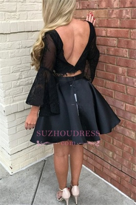 Short Black Open-back Newest Tulle Two-pieces long-sleeve Homecoming Dress_1