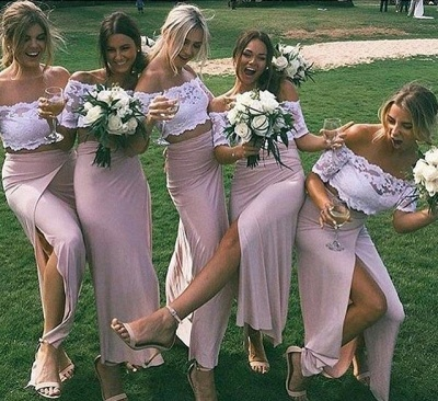 Two-Piece Short Side-Slit Chic Sleeves Pink Lace Bridesmaid Dresses_3