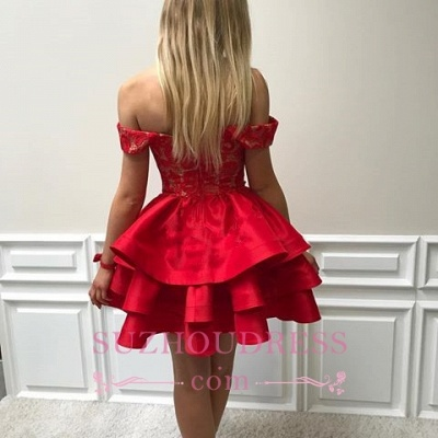 Ruffles Red Short Lace Modest Off-the-shoulder Homecoming Dress_3