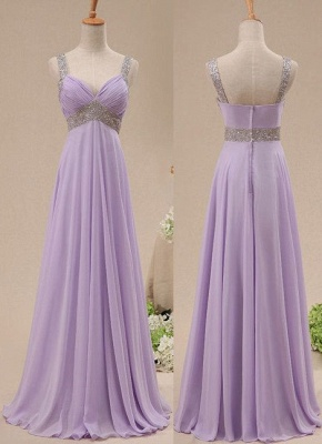 Crystal Lavender Chiffon  Popular Long Prom Dress With Beadings_2