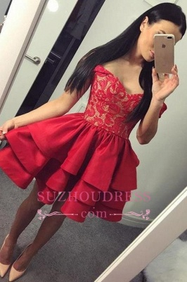 Ruffles Red Short Lace Modest Off-the-shoulder Homecoming Dress_4