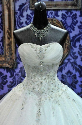 Sweetheart Beading Lace-Up Princess Dress Gorgeous Ball Gown  Wedding Gown_5
