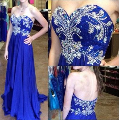 Elegant Royal Blue Sweetheart Long Prom Dress Crystal Beading Formal Occasion Dress_1