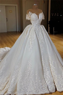 Stylish Princess Ball Dresses Wedding Dresses with Long Train Short Sleeve Lace Appliques Bridal Gowns Online_1