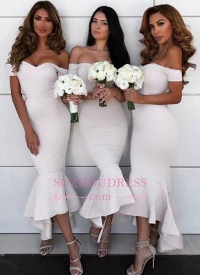 Simple Hi-Lo Mermaid Bridesmaid Dresses  | Off Shoudler Zipper Wedding Party Dress_1