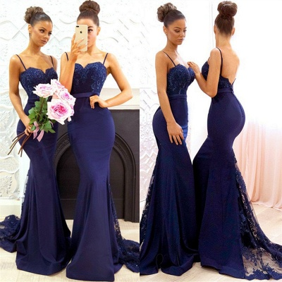 Spaghetti Straps Backless Sexy Bridesmaid Dresses   Mermaid Lace Evening Gown BA7878_5