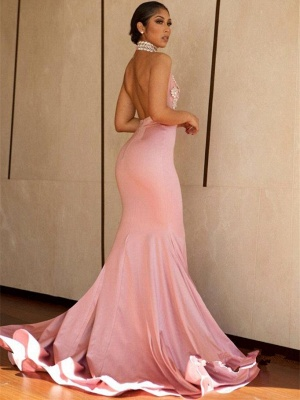 Halter V-neck Mermaid Beading Prom Dress  | Sexy Backless Pink Evening Dress with Long Train_3