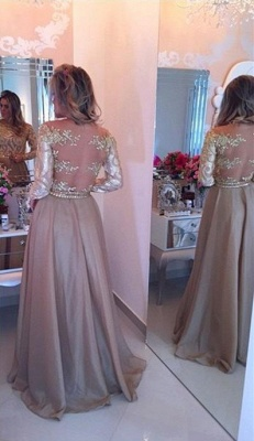 Long Sleeve Champagne Gold Prom Dresses   Appliques Sheer Back Evening Gown BMT_3