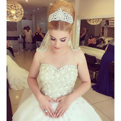 Princess Pure White Wedding Dress  with Crystals Puffy Skirt Latest Bridal Dress_2