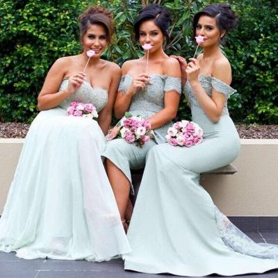 Mermaid Gorgeous Lace Off-the-Shoulder Bridesmaid Dress_3