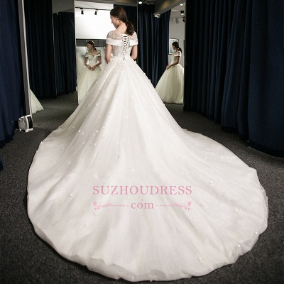 Puffy Lace-Applique Wedding Dresses  | Scoop Cap-Sleeves Exquisite Gowns_4