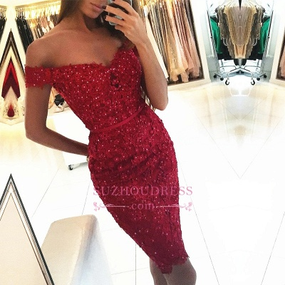 Sexy Cocktail Dress   Appliques Beadings Short Off The Shoulder Red Sheath Homecoming Dress BA6399_1