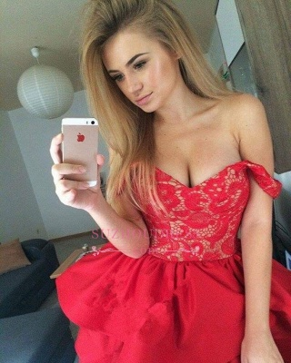 Ruffles Red Short Lace Modest Off-the-shoulder Homecoming Dress_1