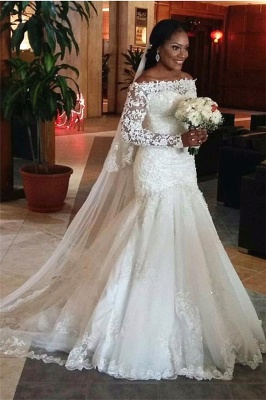 Lace Long Sleeve Mermaid Wedding Dresses Off The Shoulder Bridal Gowns_1