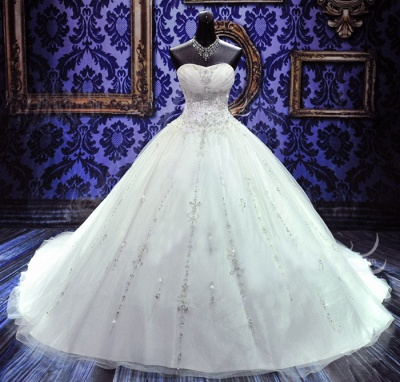 Sweetheart Beading Lace-Up Princess Dress Gorgeous Ball Gown  Wedding Gown_1