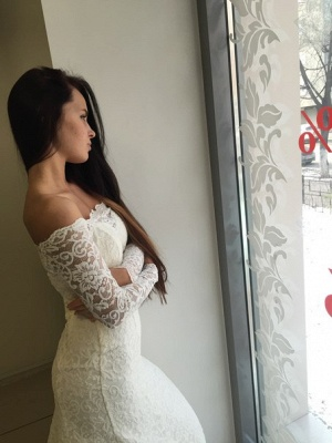 Lace Off the Shoulder Mermaid  Bridal Gowns Sexy Long Sleeve Wedding Dresses_4