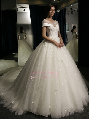 Puffy Lace-Applique Wedding Dresses  | Scoop Cap-Sleeves Exquisite Gowns_5