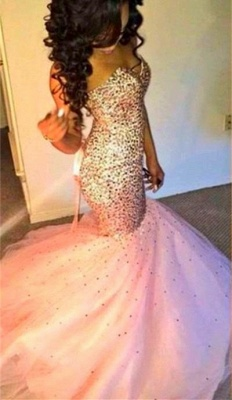 Sweetherat Crystal Mermaid Lace-Up Evening Gown with Beadings Latstst  Pink Prom Dress_1