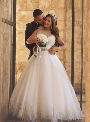 A-Line Crystal Floor Length Bridal Dress Crew Neck Plus Size  Lace Wedding Dresses_1
