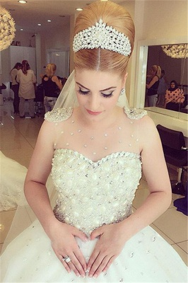 Princess Pure White Wedding Dress  with Crystals Puffy Skirt Latest Bridal Dress_1