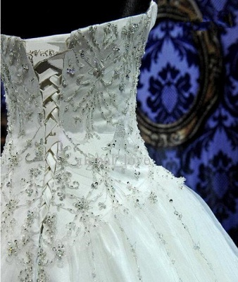 Sweetheart Beading Lace-Up Princess Dress Gorgeous Ball Gown  Wedding Gown_6