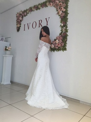 Lace Off the Shoulder Mermaid  Bridal Gowns Sexy Long Sleeve Wedding Dresses_3