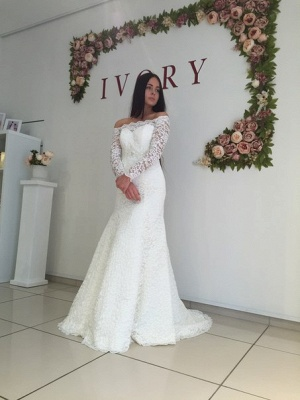 Lace Off the Shoulder Mermaid  Bridal Gowns Sexy Long Sleeve Wedding Dresses_1