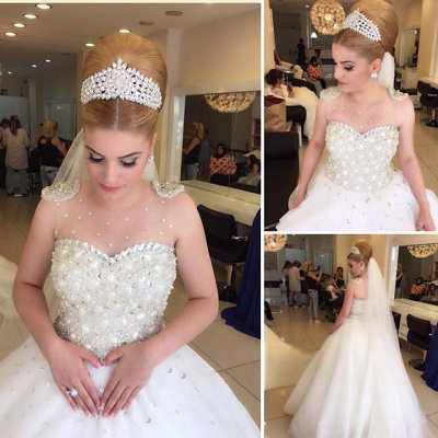 Princess Pure White Wedding Dress  with Crystals Puffy Skirt Latest Bridal Dress_3