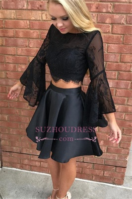 Short Black Open-back Newest Tulle Two-pieces long-sleeve Homecoming Dress_3