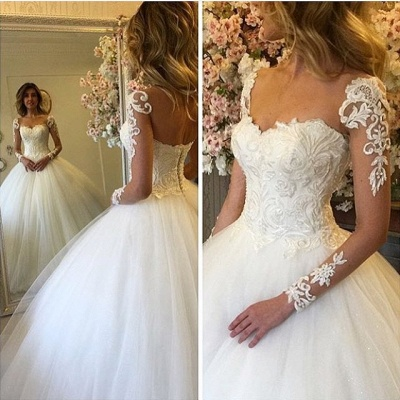 Ball Gown Lace Up Bride Dress  Long Sleeves Glam Lace Wedding Dress BA7300_3