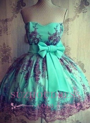 Bowknot Sash Appliques  Party Gowns Sweetheart Lovely Lace Short Homecoming Dresses_1