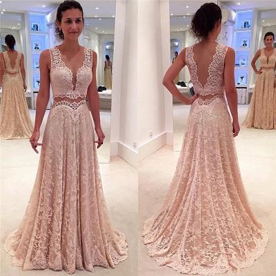 V-neck Full Lace Evening Gowns Sleeveless Elegant Long Formal Prom Dress_3