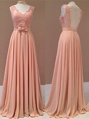 Popular Pink Chiffon Evening Dresses Backless Lace Appliques Sash Bowknot  Prom Dresse_3