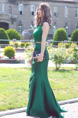 Green Two Piece Evening Dresses Long  Mermaid Stretch Satin Lace Prom Dress_3