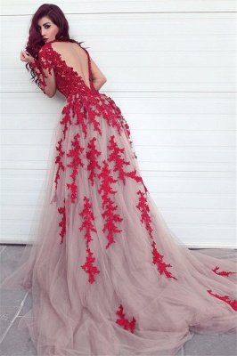 Long Sleeve Lace Appliques Red Evening Dresses Open Back Sexy Prom Dress  Cheap_1