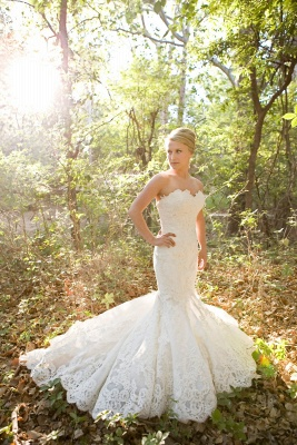 Strapless Mermaid Wedding Dresses Full Lace Popular Bride Dress without Sleeve_4