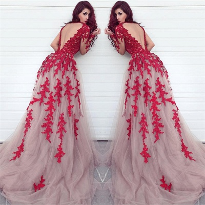 Long Sleeve Lace Appliques Red Evening Dresses Open Back Sexy Prom Dress  Cheap_3