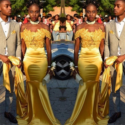 Off The Shoulder Gold Prom Dress with Choker | Lace Mermaid Sexy Long Evening Dress FB0318_3